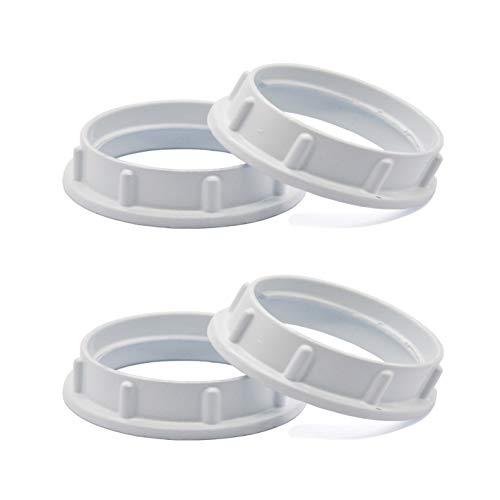 Light Socket Shade Rings,Aluminum Threaded Socket Ring for Medium Base E26 Sockets,Retaining Rings for Glass Lamp Shades/Light Fixtures (4-Pack White Color/For Thread Diameter 1-1/2 Inches)