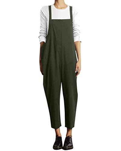 VONDA Damen Latzhose Retro Lange Overall Größe Jumpsuit Baggy Sommerhose A-armeegrün S