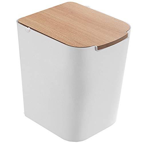 YONG Müllcontainer Müllbehälter, Papierkorb mit Deckel für Badezimmer, Schlafzimmer, Küche, Handwerk, Büro - 22 * 18 * 24cm, Weiß