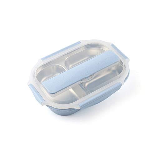 CHEJHUA Boîte à Lunch en Acier Inoxydable à 3 Compartiments Injection d'eau Isolant calorique boîtier de Nourriture Portable Boîte à déjeuner (Color : Blue)