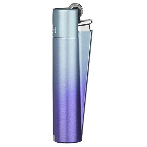 Clipper Metall Gas-Feuerzeug (Violett/Blau) mit SOFORTGRAVUR +VORSCHAU: Gravur inklusive (Gasfeuerzeug, nachfüllbar)