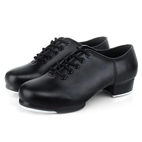 secruk per Calzados de Danza Tap para Mujeres y Hombre Zapatos de Baile Negros Plegablels Jazz de Cuero y Goma Safety