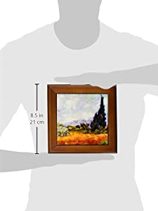 3dRose ft_155652_1 Wheat Field with Cypresses by Vincent Van Gogh 1889 Wheatfield Cornfield Trees Fine Landscape Framed Tile, 8 by 8-Inch