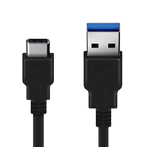 Orzly® USB 3.0 Type C (USB-C) to Type A (USB-A) Schwarze Kabel (1M) für die Verwendung mit OnePlus 2, Nokia N1 Tablet, Lenovo Zuk Z1 und sonstige Typ-C Unterstützte Smartphones & Tablets