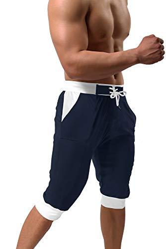 BIYLACLESEN Capri Shorts for Men 3/4 Pants Men Quick Dry Shorts Sweatpants for Men Beach Pants for Men Mesh Pants 3/4 Sweatpants Running Shorts Men Navy