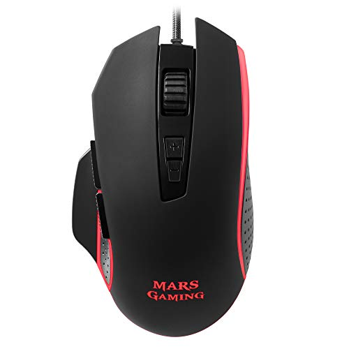 Mars Gaming MM018 - Ratón PC, 4800DPI, 4 colores RGB Breathing, 8 Botones programables