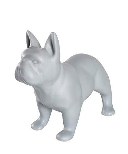 Ceramic Dog Statue - Standing French Bulldog (Matte Dark Grey)