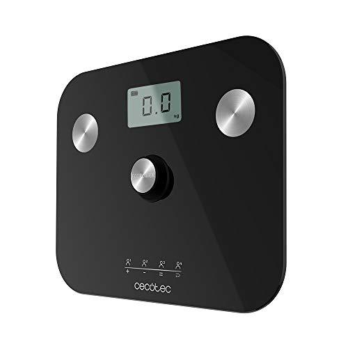 Cecotec Báscula de baño Surface Precision EcoPower 10100 Full Healthy. Con Pulsador, Función bioimpedancia, Superficie vidrio templado de alta seguridad, Sensores de precisión