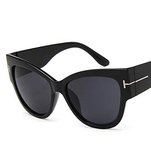 Fashion Cat Eye Mujeres Gafas De Sol Mujer Gradiente Puntos Gafas Solares Grandes Uv400 Adecuado para Compras De Viajes Al Aire Libre Y Tomar El Sol, Etc.- Negro