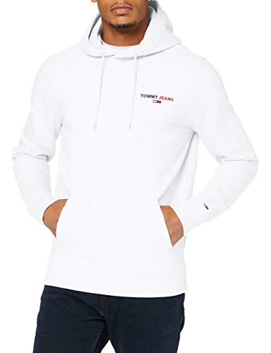 Tommy Jeans Tjm Tommy Chest Graphic Hoodie Felpa con cappuccio, Bianco, XS Uomo