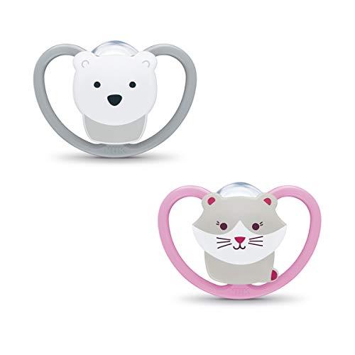 Chupete Space Silicona NUK. Pack de 2 unidades con los modelos gato y oso polar. De 0 a 6 meses
