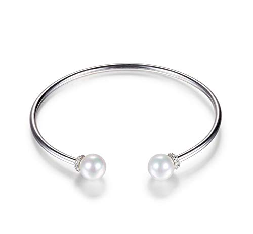 ANAZOZ Damen Armband 925 Sterling Silber 2 Perle Armreif Armkette Bettelarmband Kettenarmband Manschettenarmband Silber