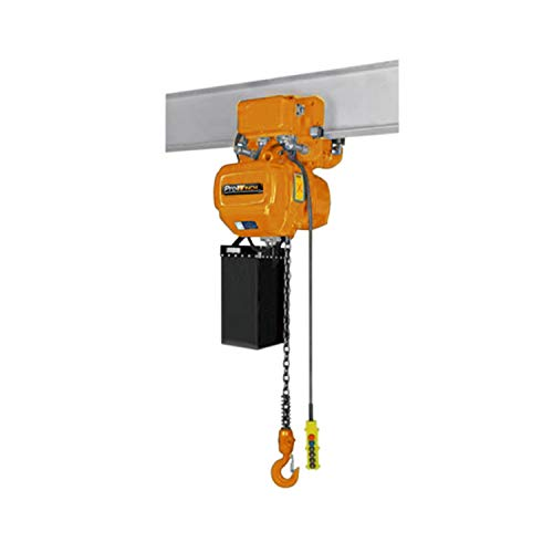 Prowinch 1/2 Ton Electric Chain Hoist with Electric Trolley 20ft Lifting Height G100 Chain Water Resistant Pendant Control M4/H3 Duty Cycle 3 Phase