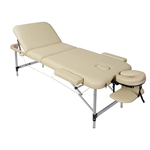 Camilla de masaje, plegable, altura regulable, 3 zonas, patas de aluminio con piel sintética prémium y espuma multicapa beige de alta densidad 14,5 kg (capacidad de carga 270 kg) ⭐