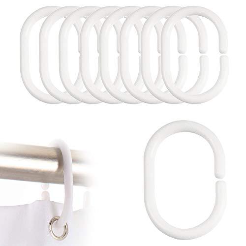 FeJu Duschvorhang Ringe | 24 Stück| Weiß | Kunststoff | Duschvorhangring für Duschvorhangstangen, Ringe für Duschvorhang (Weiß, Kunststoff)