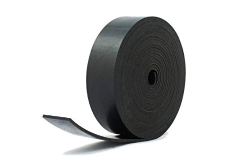 Bande de caoutchouc néoprène noir résistant, 40 mm de large x 4 mm d'épaisseur x 5 m de long