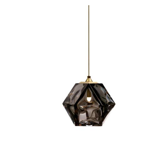 WENY Elegante Bola de Cristal Colgante de la luz de la lámpara de Cocina E14 Vintage Industrial Colgando lámpara lámpara Colgante Ajustable para la Barra de Restaurante (sin Bombilla),Negro