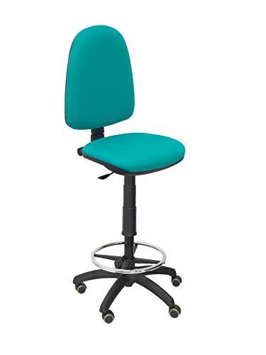 Piqueras Y Crespo T04CP Ayna bali- Taburete ergonómico, regulable en altura, aro reposapiés y ruedas de parquet, 100/123x46x40 cm, Verde claro