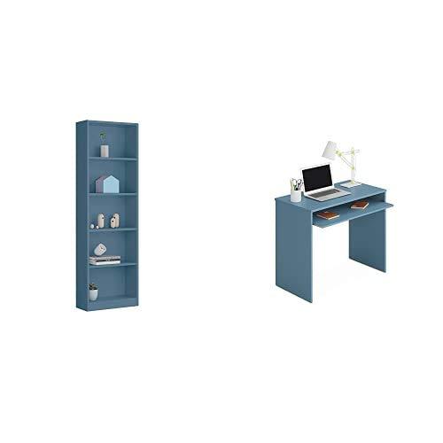 Habitdesign Estantería Juvenil 6 baldas, Librería Vertical, Modelo I-Joy, Acabado en Color Azul WIC + Mesa de Ordenador I-Joy con Bandeja extraíble