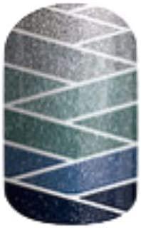 Jamberry Nail Wraps - Seaside - HALF Sheet - Blue Sparkle Ombre Bandage Criss Cross