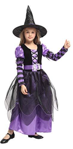EOZY Disfraz Halloween Niña Disfraz de Bruja con Sombrero y Cinturón para Niñas Chicas para Halloween Carnaval,Cosplay(Purple,7-9 años)