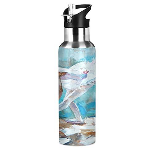 ADKing Botella de agua Ballet Girl Pintura al óleo de 20 onzas Deportes a prueba de fugas Botella de agua sin BPA de acero inoxidable