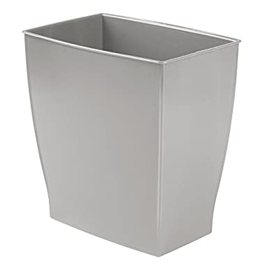 InterDesign Mono Rectangular Wastebasket Trash Can for Bathroom, Gray
