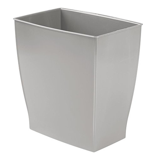 InterDesign 64783 Mono Rectangular Wastebasket Trash Can for Bathroom, Gray