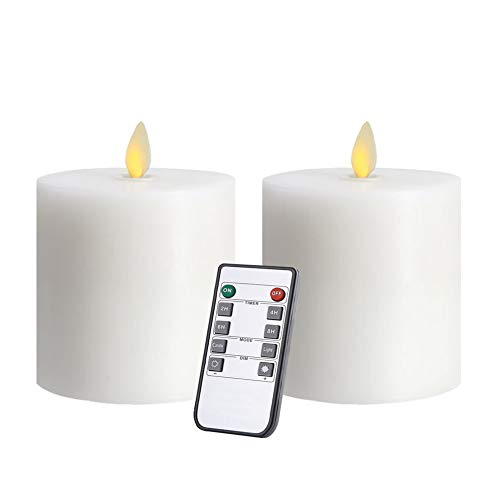 Only-us White Flameless Candles Set of 2 (3x3 inch) Flickering LED Candles Battery Operated With Remote Control Timers For Table/Fireplace/Party/Wedding/Christmas Decoration Dimmable Pillars flat top