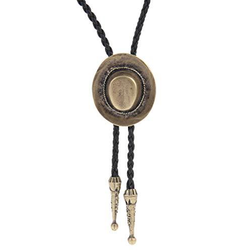 LIANCHI Western Hat Black Bolo Tie para hombres y mujeres, cordón de cuero nativo americano, L,