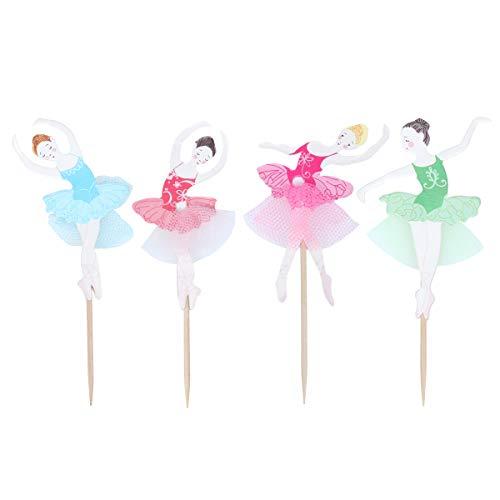 NUOBESTY 48 Stück süße Ballerina Cupcake Topper Kuchen Dekoration Mädchen Geburtstagsfeier Dekorationen