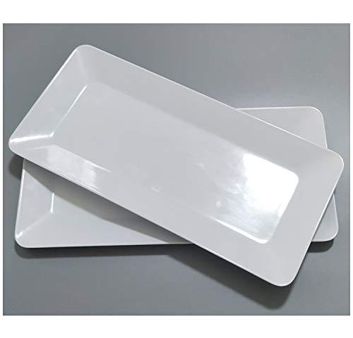 Servierplatte, rechteckig, für Partys, 43 cm, groß, weiß, spülmaschinenfest und BPA-frei 8x17