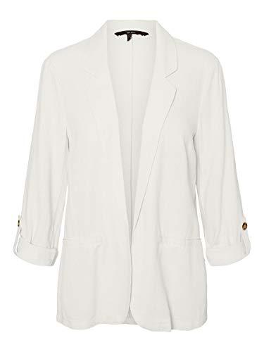 Vero Moda VMHELENMILO 3/4 Loose Blazer WVN, Blanco Nieve, M para Mujer