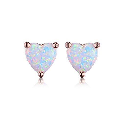 GEMSME 18K Rose Gold Plated Opal Stud Earrings 6MM