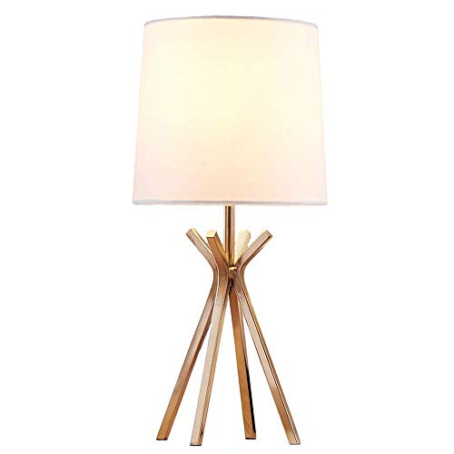 Popilion Modern Brass Metal Base Bedside Elegant Table Lamp, Small Table Lamps with White TC Fabric Lampshade for Bedroom Living Room Office