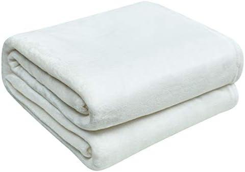 Fleece Blanket Microfiber Blanket Solid Color Super Soft Cozy for Sofa Bed Travel White 50x60 product image