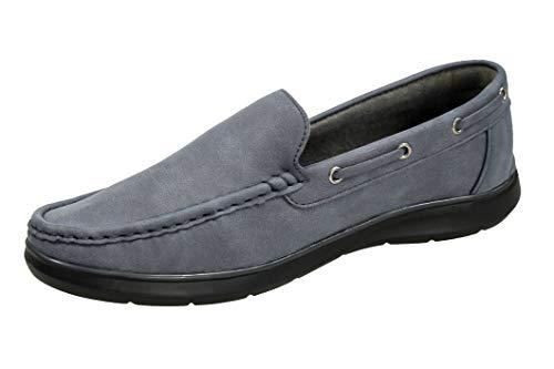 Evoga Mocassini uomo casual eleganti estivi scarpe espadrillas Barca (43, A2 Grigio)