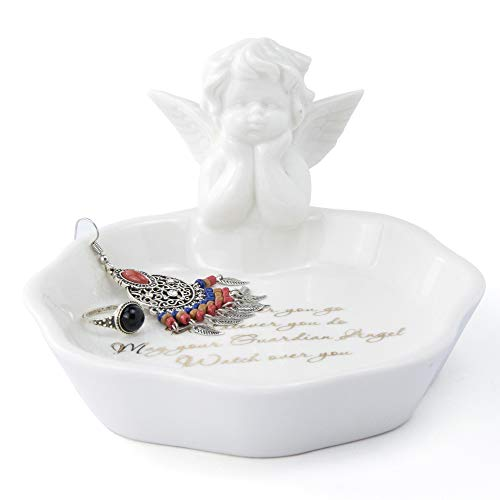 "PUDDING CABIN Angel Ring Holder Organizer - Angel Gift for Women or Going Away Friends - "" Wherever You go, Whatever You do, May Your Guardian Angel Watch Over You """