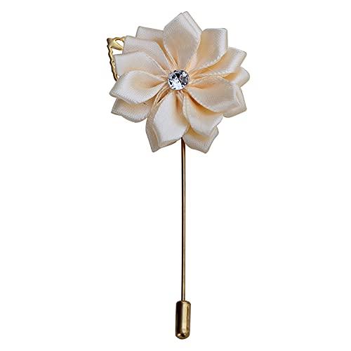 shengmo Broche de metal dorado para novio de seda de raso con diseño de rosa de flores para novio y hombres, fiesta, bailes y traje de hombre (color: albaricoque)