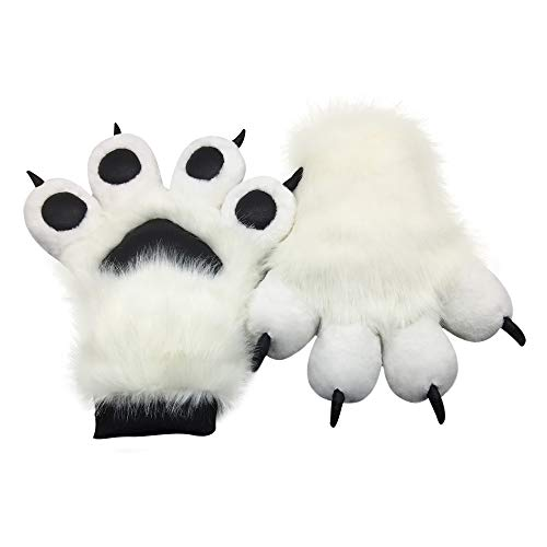 FurryValley Fursuit Paws Furry Partial Fluffy Gloves Costume Lion Bear Props for Kids Adults (White)