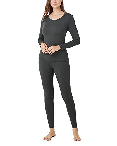 LAPASA Set de Ropa Térmica para Mujer Conjunto Térmico Ligero/Mid-Weight/Espeso Cuello Redondo-Brushed Back Fabric Technique- L17/L41/L44