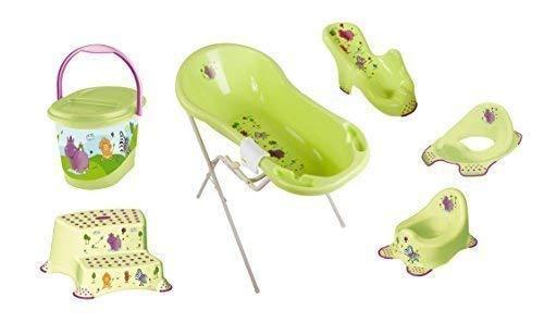 8er Set Hippo grün Badewanne XXL 100 cm + Badewannenständer + Badesitz + Topf + WC Aufsatz + Hocker zweistufig + Windeleimer + Waschhandschuh