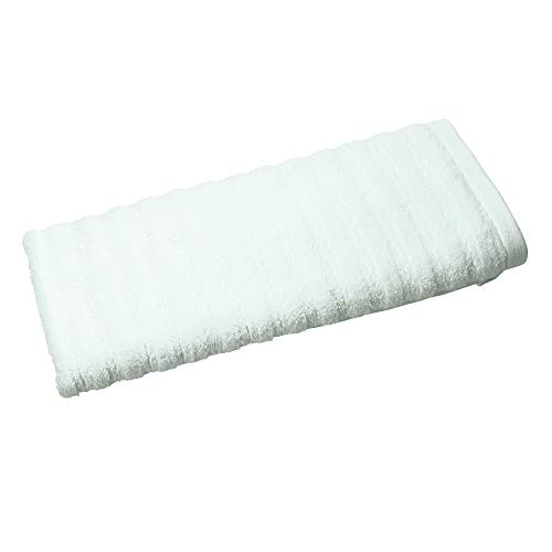 Price comparison product image iDesign Hand Towel,  Small Ribbed Cotton Hair Towel,  Soft Face Cloth for the Face and Hands or for the Shower and Bath,  Light Blue