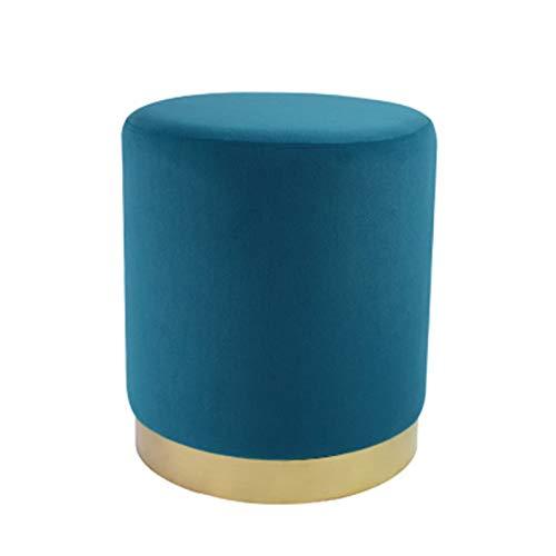 Ronda Otomana Escabel Puff For La Sala De Estar O Dormitorio Pufs, Taburete Tapizado Reposapiés Taburetes pequeños (Color : Azul, Size : 44.9X41.4cm)