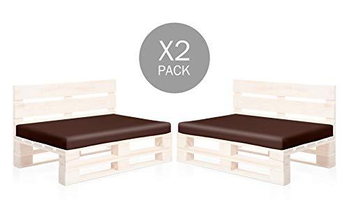 SUENOSZZZ-ESPECIALISTAS DEL DESCANSO Pack 2 colchonetas Asiento para Sofas de palets, cojin Chill out Relleno con Espuma y enfundado en Polipiel Color Chocolate