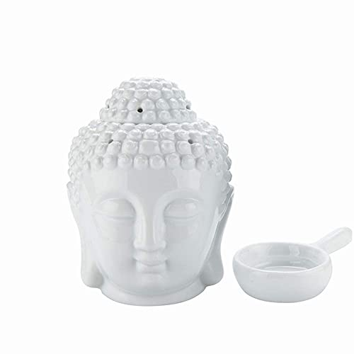 Ceramic Buddha Oil Burner with Candle Spoon for Yoga Spa Home Bedroom, Buddha Head Essential Oil Burner Aromatherapy Wax Melt Burners Oil Diffuser Tealight Candle Holder (White)