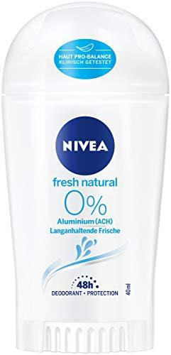 NIVEA Fresh Natural Deo Stift (40 ml), Deo Stick ohne Aluminium (ACH) mit frischem Blumenduft, 48h Deodorant mit antibakteriellem Schutz pflegt die Haut