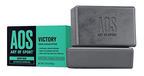 Art of Sport Body Bar Soap (2-Pack) - Victory Scent - Activated Charcoal Soap with Natural Botanicals Tea Tree Oil and Shea Butter - Cool Eucalyptus Fragrance - Shower + Hand Soap - 3.75oz