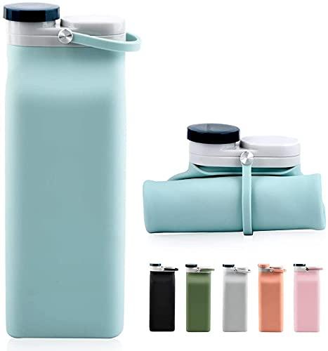 Botella de agua plegable sin BPA – Botella de agua plegable para viajes y deportes con...