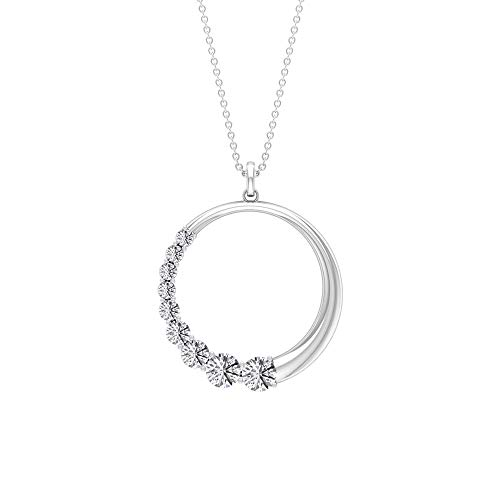 Colgante redondo de 1,78 quilates con certificado SGL Moissanita, diseño de media piedra blanca, colgante de círculo abierto, hecho a mano, minimalista, apilable, 18K Oro blanco